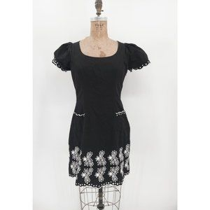 Betsey Johnson Black and White Embroidered Dress